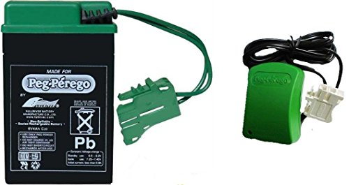 Peg Perego Green Battery and Charger Combo Pack (6 Volt Peg Perego Battery Charger)