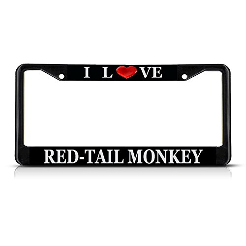 Sign Destination Metal License Plate Frame Solid Insert I Love Heart Red-Tail Monkey Chrome Car Auto Tag Holder - Black 2 Holes, One - Heart Monkey Tails