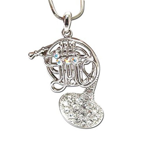Lola Bella Gifts Crystal French Horn Pendant Necklace with Gift Box