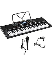 COSTWAY 61-toetsen Elektrisch Piano klavier, Draagbare Muziek Piano met Muziekstandaard, Microfoon, Groot LCD-scherm, 300 klankkleuren, 300 Ritmes, 30 Demo nummers, Versterkende Luidspreker, Dubbele stroomvoorziening, voor Beginner