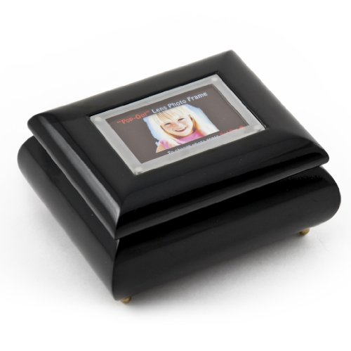 3'' X 2'' Wallet Size Black Lacquer Photo Frame Music Box With New Pop-Out Lens System - Can You Feel the Love Tonight (The Lion King) - SWISS by MusicBoxAttic