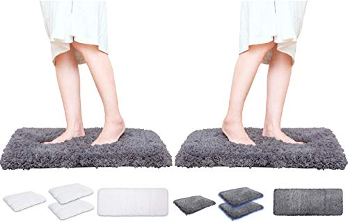 Rally Rugs M2-Soft Luxrious Shaggy Microfiber Bath Mat (Gray 17x24 inch, 2-Pack), Bathroom Rug Padded with Thick Memory Foam, Non-Slip, Super Absorbent, Mold and Mildew Resistant, Machine Washable (Toilet For Bath Mat Micro)