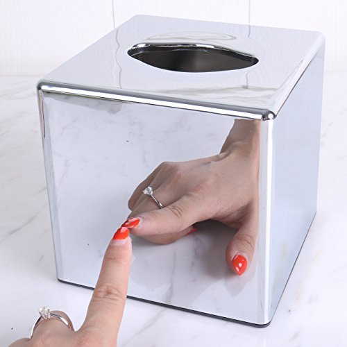 Kleenex Holder Tissue Box Cover Square Tissue Dispenses for Bathroom Office Home Acrylic Plastic Silver Mirror