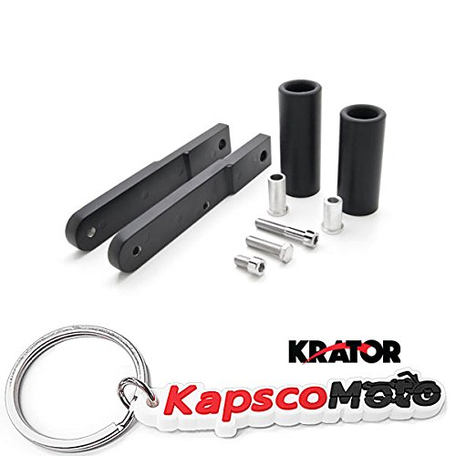 Krator Honda CBR 600RR No Cut Black Frame Sliders (2009-2012) Frame Bobbins Sliders Crash Protectors Motorcycle Sportbike + KapscoMoto Keychain