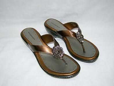 Rockport Womens Slide Sandals Size 7 W APW7555L Amale Luggage Patent