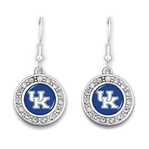 Crystal Kentucky Earrings Wildcats - FTH Kentucky Wildcats Crystal Circle Logo Earrings