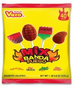 (Vero Mix Banda Fuego Assorted Flavors Lollipop Box )