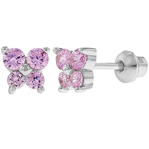 925 Sterling Silver CZ Pink Butterfly Earrings Toddlers Baby Kids Screw Back