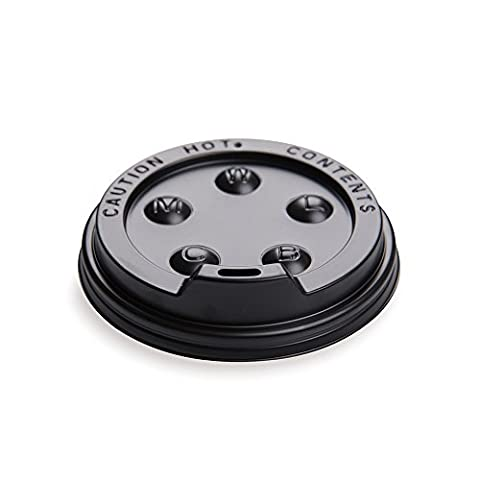 50-CT Disposable Black Lid for Coffee and Tea Cups - Fits 8-OZ, 12-OZ and 16-OZ Cups: Perfect for Coffee Shops, Juice Shops, and Restaurant Takeout – Recyclable Polystyrene Cup Lid – - 8 Ounce Cafe Mug