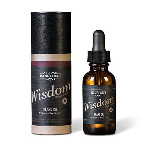 Wood Scent Premium Beard Oil for Men – Wisdom (Woodsy & Citrus Scent) Beard Oil | 1 Oz Dropper Top Amber Glass Bottle