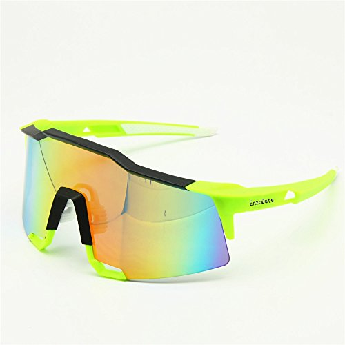 Cycling Goggles 2LS Kit, Speed Bicycle Sunglasses Anti-UV, Road Racing Outdoor Sports (yellow)