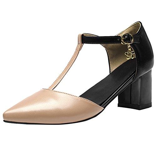 T High 6CM Sandalen Frauen Blockabsatz Riemchen Damen AIYOUMEI Schuhe Pumps Absatz Heels und Aprikose mit Geschlossene Spitze Strap qaUqE7wIx