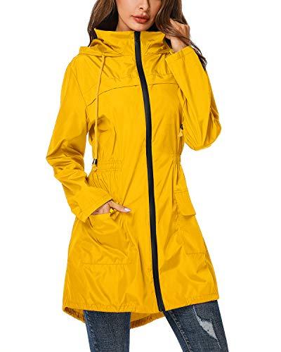(ZEGOLO Women Rain Jacket Lightweight Hooded Waterproof Active Outdoor Trench Raincoat Yellow)