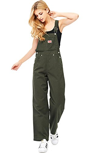 Overalls Cotton - Revolt Women's Juniors Baggy Straight Leg Twill Overalls (S, Olive)