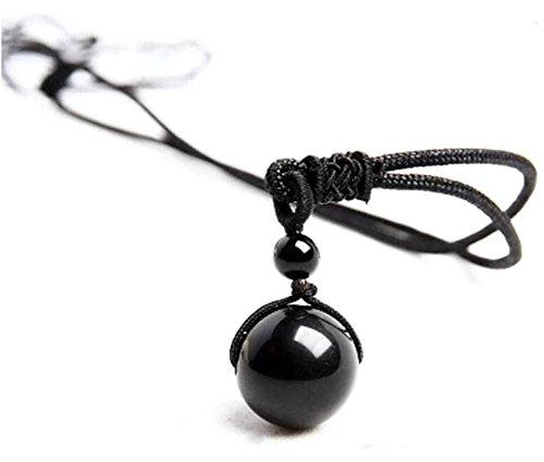 Koala Club Obsidian Stone Pendant Necklace Rainbow Eye 16mm Bead (Religious Accessories)