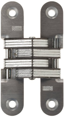 SOSS 212 Zinc Invisible Hinge with Holes for Wood or Metal Applications, Mortise Mounting, Satin Nickel Exterior Finish