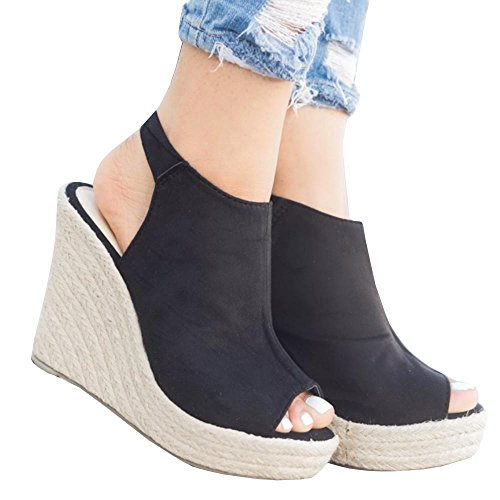Meilidress Womens Espadrille Wedge Heels Peep Toe Sandals Platform Ankle Tie Up Strap Summer Suede Shoes