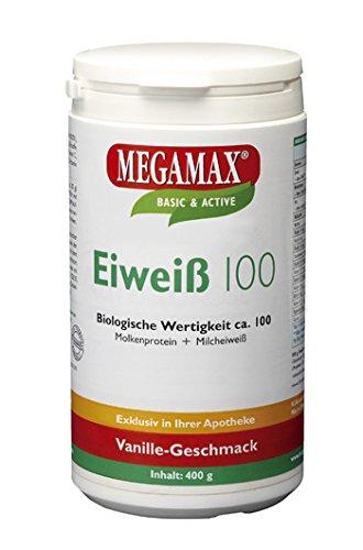 Megamax Eiweiss Vanille. Molkenprotein + Milcheiweiß Eiweiß Protein mit Biologischer Wertigkeit ca.100. Für Muskelaufbau und Diaet. Inhalt: 400 g