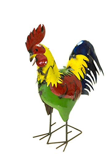 Small Rooster Figurine - Rustic Arrow Small Neck Rooster for Decor, 23 by 10.5 by 28-Inch, Multicolor