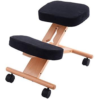 Giantex Ergonomic Kneeling Chair Wooden Adjustable Mobile Padded Seat and Knee Rest (Black)