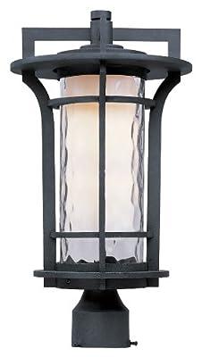 Maxim Lighting 30480WGBO One Light Water Glass Post Light, Black Oxide