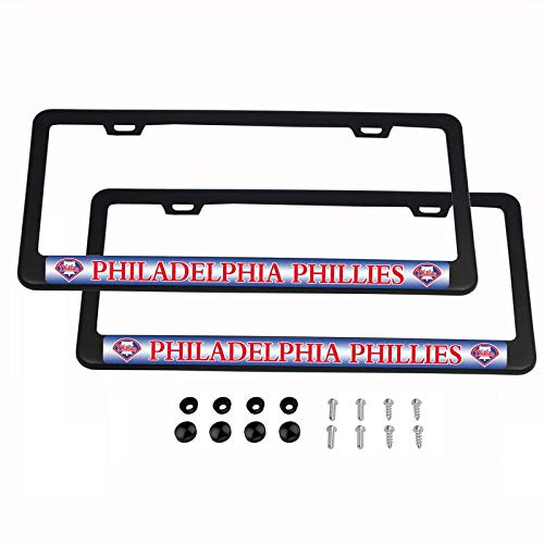 (2PCS MLB Lightweight License Plate Frames Black Matte Powder Coated Aluminum - Philadelphia Phillies )