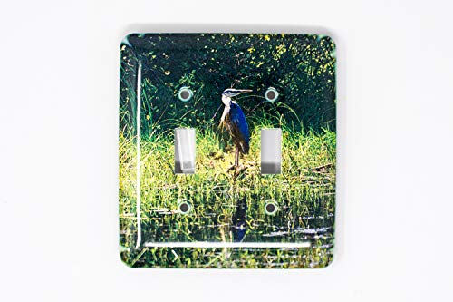 Blue Heron Light Switch Plate, Hand Imprinted -