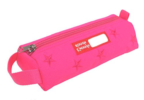 Rough Enough Functional Durable Canvas Fashion Cute Long Star Embroidery Pencil Case Tool Pouch Pen Makeup Bag Stationary Accessories Organizer with Zipper for Kids Girls Women at Outdoor School Pink