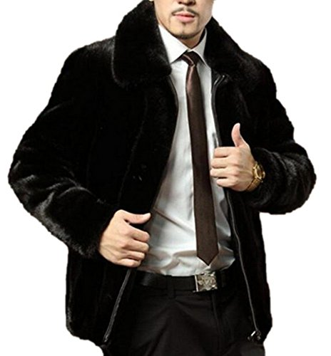 Black Mink Jacket (Men's Short Black Short Fake Mink Coat Faux Fur Outwear Lapel JACKET with Full Zipper M Black)