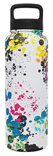 (Simple Modern 40 oz Summit Water Bottle - Stainless Steel Liter Flask +2 Lids - Wide Mouth Double Wall Vacuum Insulated Leakproof Thermos Pattern: Pollock)