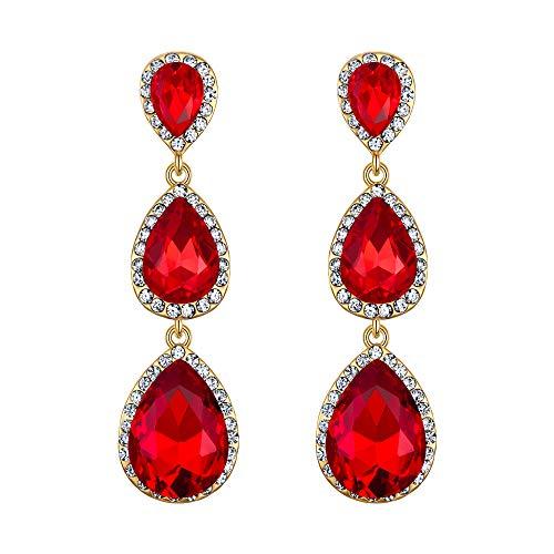 (EleQueen Women's Gold-tone Austrian Crystal Teardrop Pear Shape 2.5 Inch Long Earrings Ruby Color)