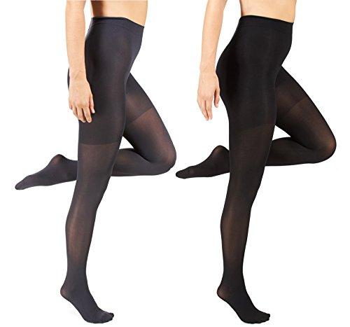 Marilyn Monroe Womens Ladies 2Pack Control Top Footed Opaque Tights Dark Grey/Black L/XL