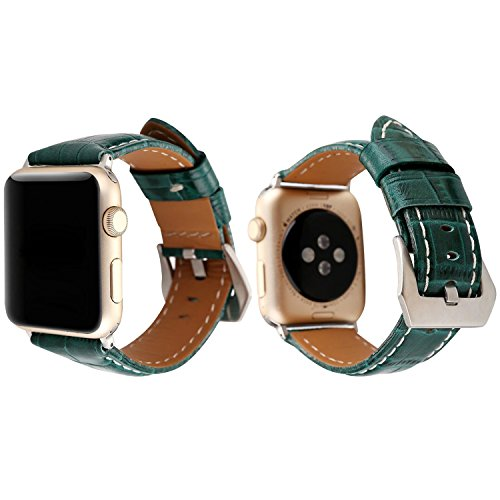 Baokai Genuine Leather Apple Watch Band 38mm Retro Vintage Replacement Strap with Alligator Texture for Apple Watch Series 3 Series 2 Series 1 Sport & Edition,Green