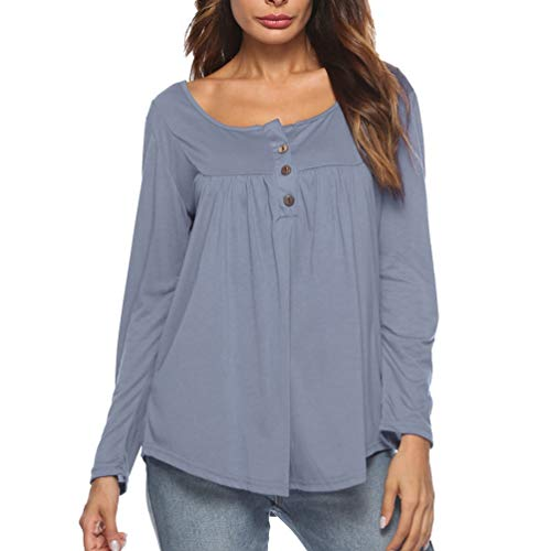 Longues Row Yiiquanan Tunique Gris Bouton Plis Solides Shirt Tops Tee Femmes Blouse Manches Casual Upqf6wEHq
