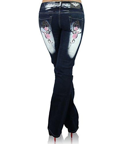 Pantalones Cb Age Pink Navy para 036 Vaqueros Blue Cut Boot Crazy Mujer FdZ7qg7