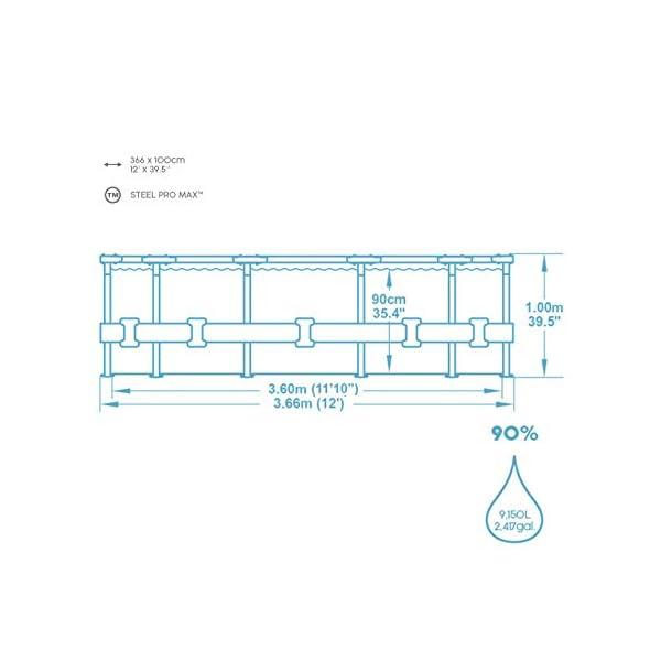 Bestway 56923 | Steel Pro MAX Deluxe Series Piscina Fuori Terra Base, Struttura e Liner, Rotonda, 366x100 cm, Effetto… 3 spesavip