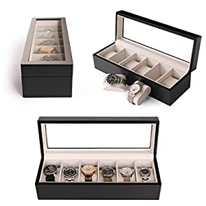 Modern Wooden Watch Box with Brushed Stainless Steel Top Dark Gray 6-Slot Watch Case with Real Glass