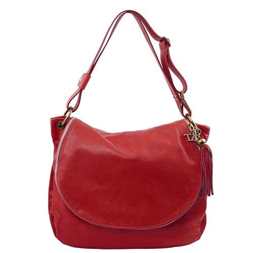 Tuscany Leather avec en Besace Souple bandoulière TLBag Lipstick Pompon Cuir Rouge Rouge Sac FFdwAr