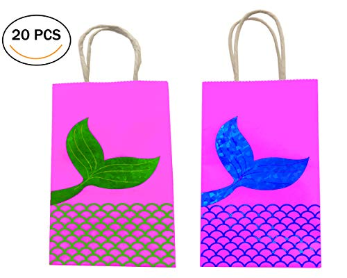 20 pcs Mermaid Tail Gift Bags Party Favor Pack, Two Colors - Blue and Green Sparkle Beautiful Mermaid Tail -