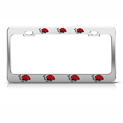 Speedy Pros Ladybug Ladybugs Lady Bug License Plate Frame Stainless Metal Tag ()