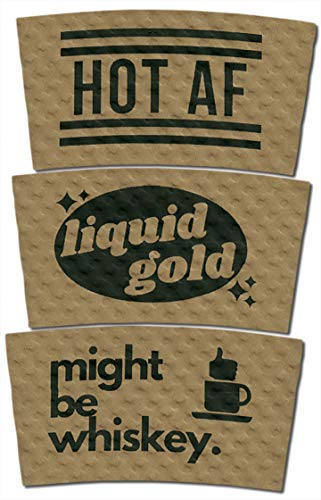 Coffee Sleeves with Design - Kraft Brown with Black Print - Fits Standard Hot Cups (Variety Pack, 75 count) ()