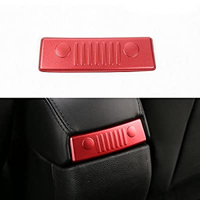 KUJOOY Red Aluminum Armrest Storage Box Rear Cover Decor for Jeep Renegade 2015 2016 2020 2020: Automotive