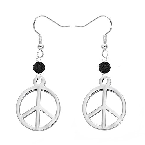 (MANZHEN Stainless Steel Black Lava-Rock Essential Oil Diffuser Dangle Earrings Jewelry (Peace Sign))