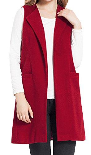 JOKHOO Women's Wool Blend Sleeveless Long Vest Jacket Longline Slim Waistcoat (M, Wine Red)
