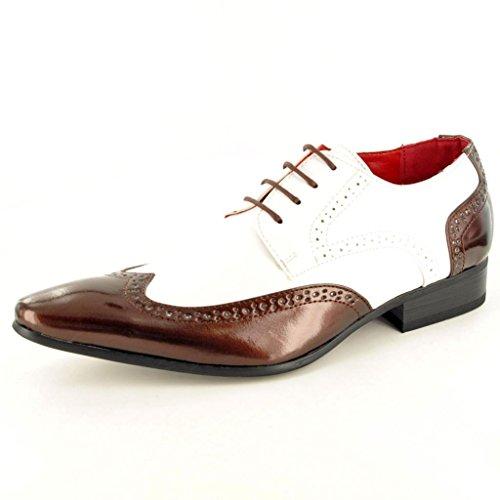 Herren, Brogue-Schuh, Abendgarderobe, Lackleder-Optik, spitz zulaufender Zehenbereich, Größen 40-46 braun / weiß