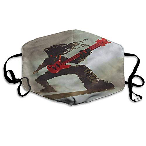 (Fantasy Fashion Mouth Mask Hipster Rocker Guitar for Cycling Camping Travel W4