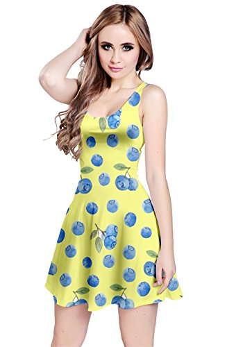 Blueberry Clothing - CowCow Womens Yellow Berries Sleeveless Dress, Yellow - L