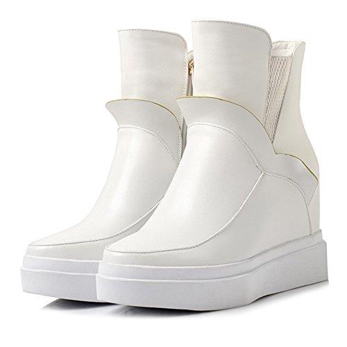 Btrada Womens Winter Verborgen Sleehak Mode Sneaker Zip Side Bontvoering Ruche High Top Sneaker Boots White