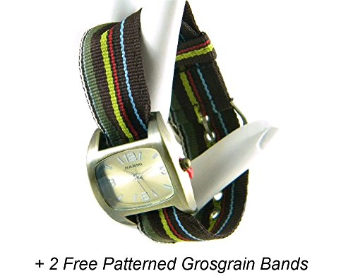 ld Ribbon Watch with Grosgrain Band + 2 Free Assorted Bands TVT-361180AG (Grosgrain Ribbon Watch Band)