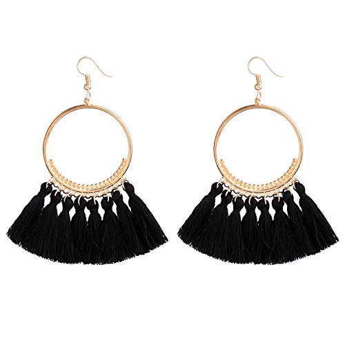 D EXCEED Fashionable Tassel Earrings Gold Bib